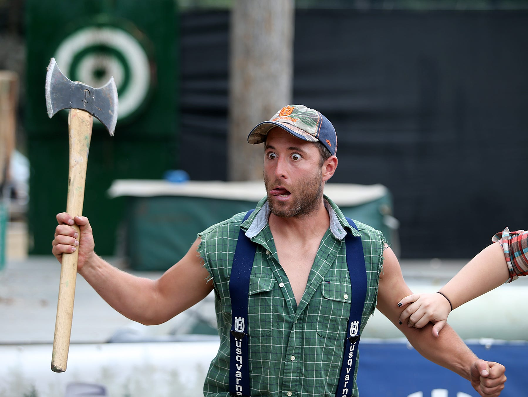 Scott Thompson performs in the West Coast Lumberjack Show at the Kitsap County Fair & Stampede on Friday, August 24, 2018 at the Kitsap County Fairgrounds.