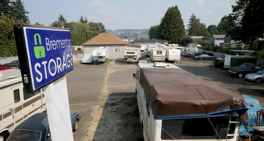 Vehicles and RVs parked in a lot at the Bremerton Storage at the Penn Plaza in Bremerton.