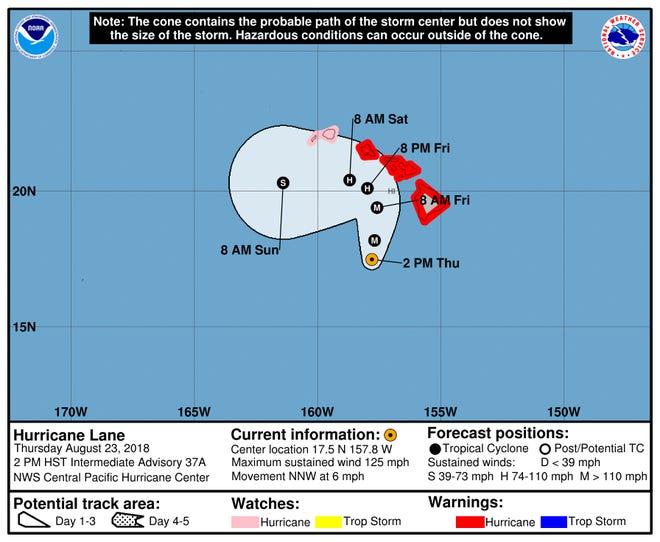 Forecast track of Hurricane Lane as of 8 p.m. Thursday ET