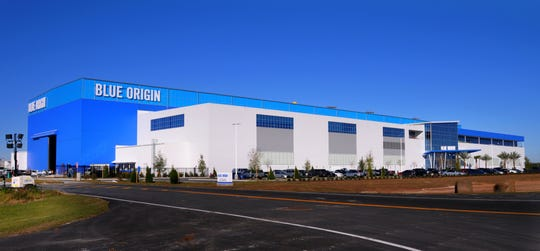 Blue Origin's New Glenn rocket manufacturing facility at Kennedy Space Center's Exploration Park.