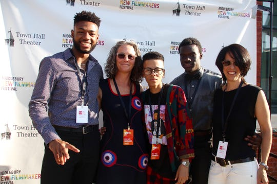 """The """"Personal Statement"""" documentary team that attended the screening of their movie at the 2018 Middlebury New Filmmakers Festival (left to right): Student Enoch Jemmott, director Juliane Dressner, sudents Karoline Jiménez and Andrew Greenaway, and producer Beth Levison."""
