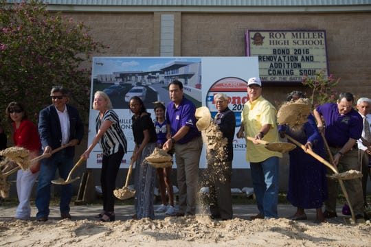 CCISD officials break ground during a ceromony at Miller High School on Friday, August 24, 2018.