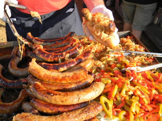 Sausage and peppers  prepared at the 2019 Mercer County Italian-American  Festival by Buzzetta's Festival Foods of Hightstown