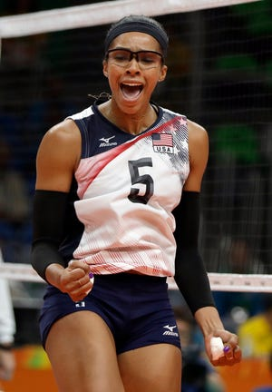 United States' Rachael Adams celebrates during a women's preliminary volleyball match against Puerto Rico at the 2016 Summer Olympics in Rio de Janeiro, Brazil, Saturday, Aug. 6, 2016.