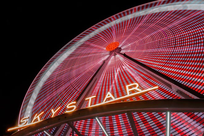 A SkyStar observation wheel will be installed at The Banks in Downtown Cincinnati on Aug. 31. It will operate daily until Dec. 2.