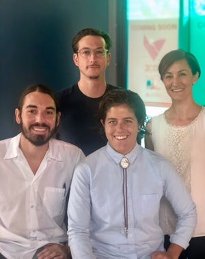 Clockwise from back, left: Daniel Souder, Joanna Kirkendall, Jordan Tuss, who will be general manager of Money chicken, and chef Evan Hartman