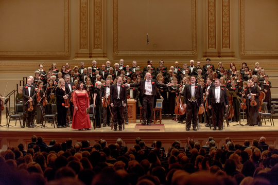 The Masterwork Chorus and Orchestra in their annual performance of Handel Messiah on the Perelman Stage at Carnegie Hall.