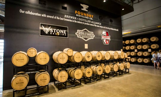 Foundry Distilling Co., brewer/distillers alliance barrels in their new facility and distillery Friday, Aug. 24, 2018, in West Des Moines.
