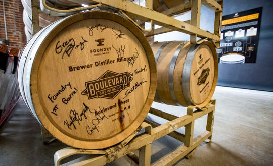 First barrel at Foundry Distilling Co. at their new facility and distillery Friday, Aug. 24, 2018, in West Des Moines.