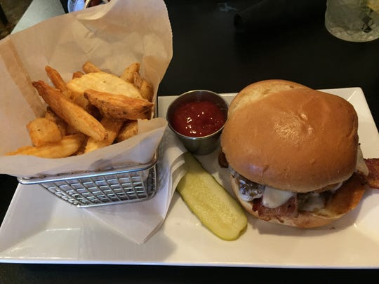 The Bourbon-Glaze Junction Burger ($10) at Cooper's on 5th in West Des Moines.