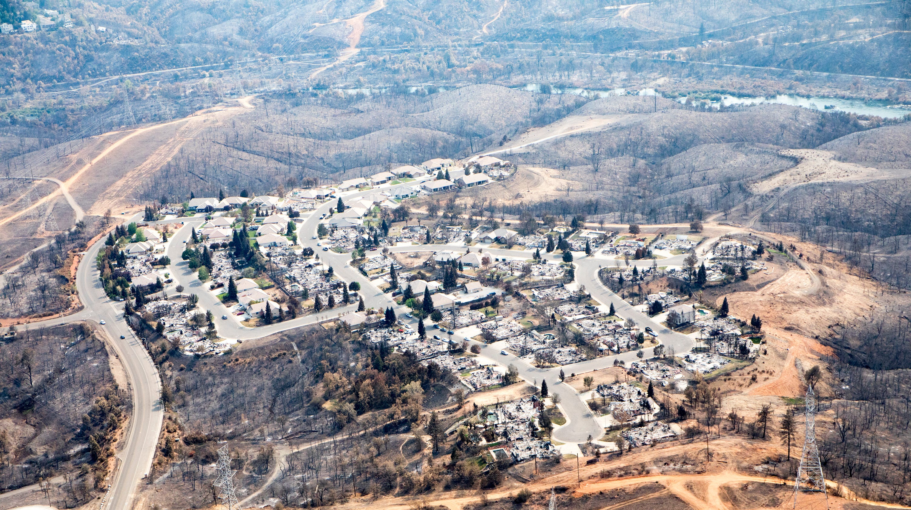 aerial view of carr fire in california shows scale of destruction