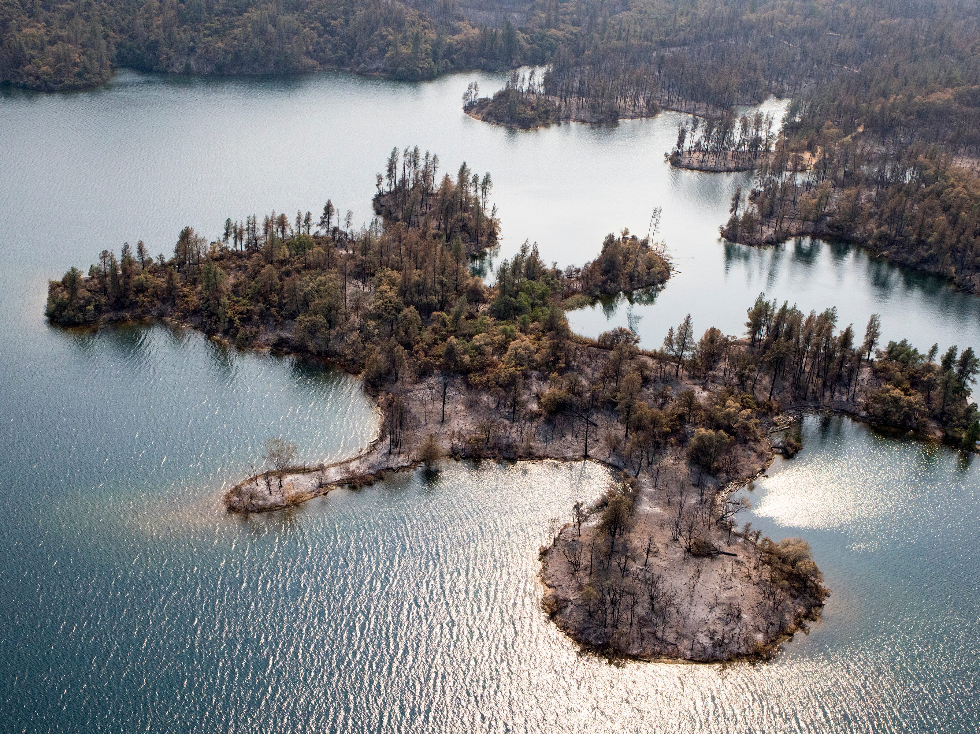 Aerial of Whiskeytown Lake following the Carr fire in Shasta County, Calif., Tuesday, August 21, 2018.