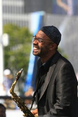 Kenny Garrett takes the Carhartt Amphitheatre stage with the Kenny Garrett Quintet during the 2012 Detroit Jazz Festival in Hart Plaza Monday Sep. 3, 2012 . MANDI WRIGHT/Detroit Free Press
