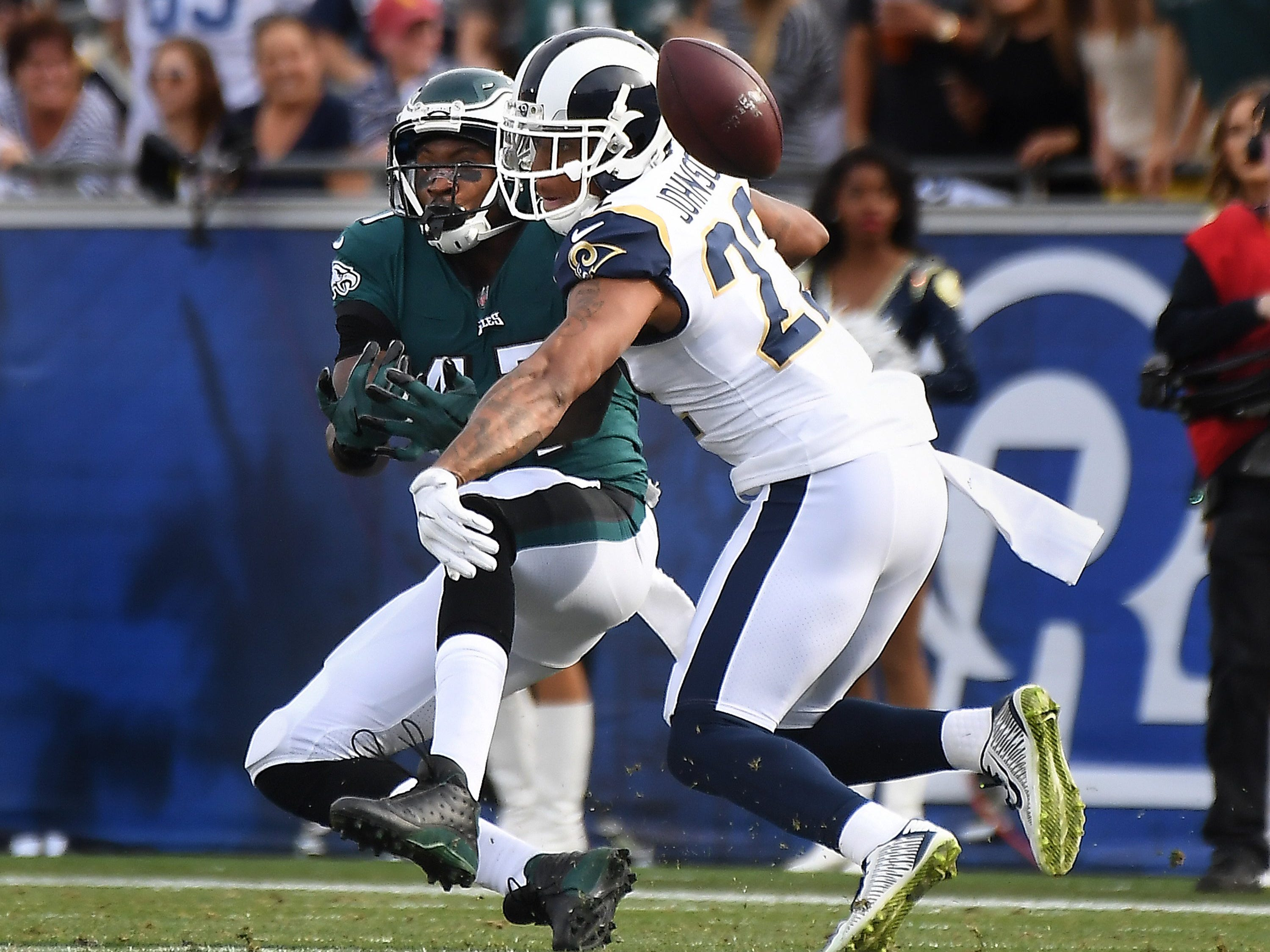 1. Philadelphia Eagles at Los Angeles Rams, Week 15, 8:20 p.m. Dec. 16, NBC: This is a rematch of last year's Week 14 meeting, when Wentz went down for the season and Nick Foles began his march into Philadelphia lore along with cheesesteaks, Rocky Balboa and the Liberty Bell.