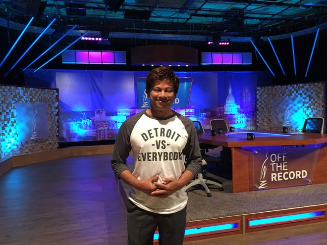 Shri Thanedar on the set of Off The Record, a public television show on WKAR-TV in East Lansing, on Friday, Aug. 24, 2018.