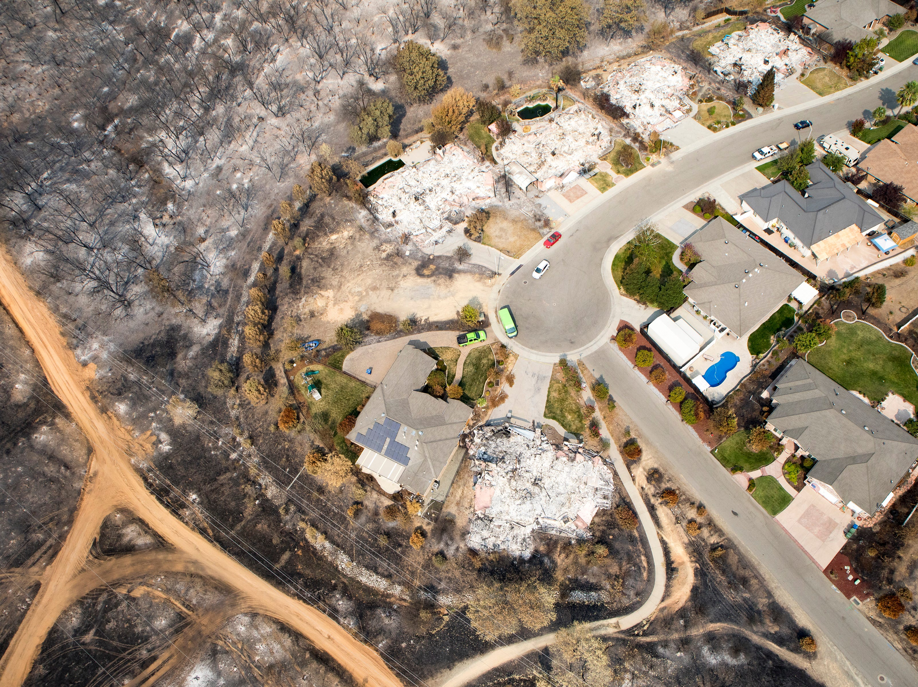 Aerial of Mary Lake area following the Carr fire in Shasta Co., Calif., Tuesday, August 21, 2018.