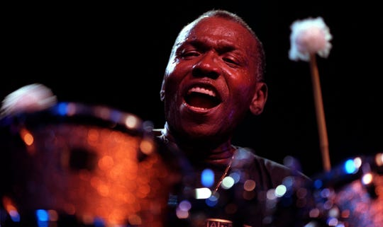 Pontiac-born drummer Elvin Jones, age 71, plays late Sunday evening, Sept. 5, 1999 to a packed ampitheater at The Montreux Detroit Jazz Festival. (ANDREW JOHNSTON/Detroit Free Press)