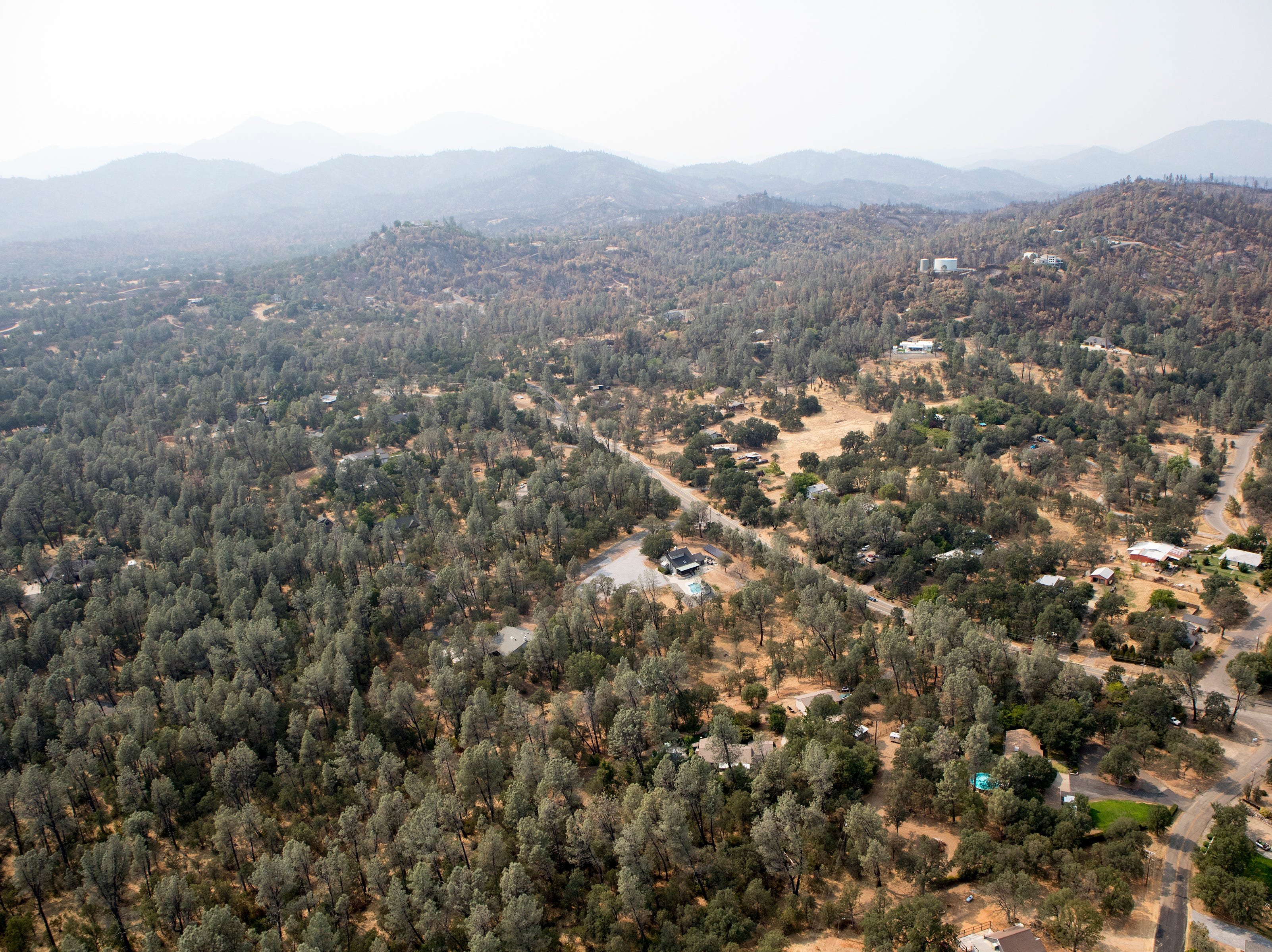 Aerial west of Redding following the Carr fire in Shasta Co., Calif., Tuesday, August 21, 2018.