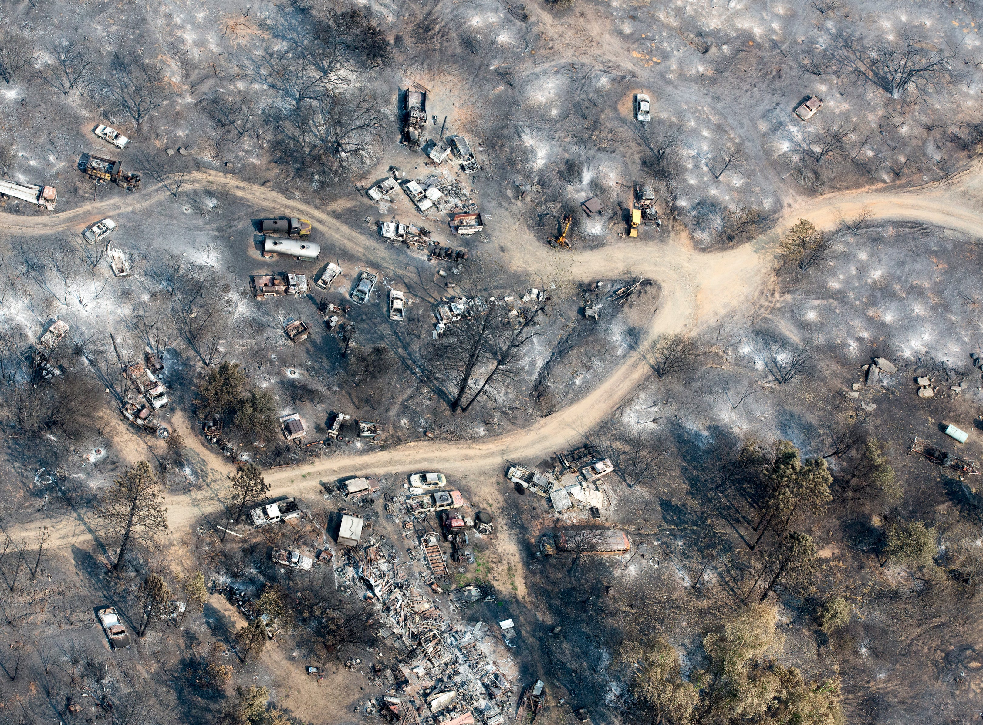 Aerial view of the decimated Keswick area following the Carr Fire in Shasta County.