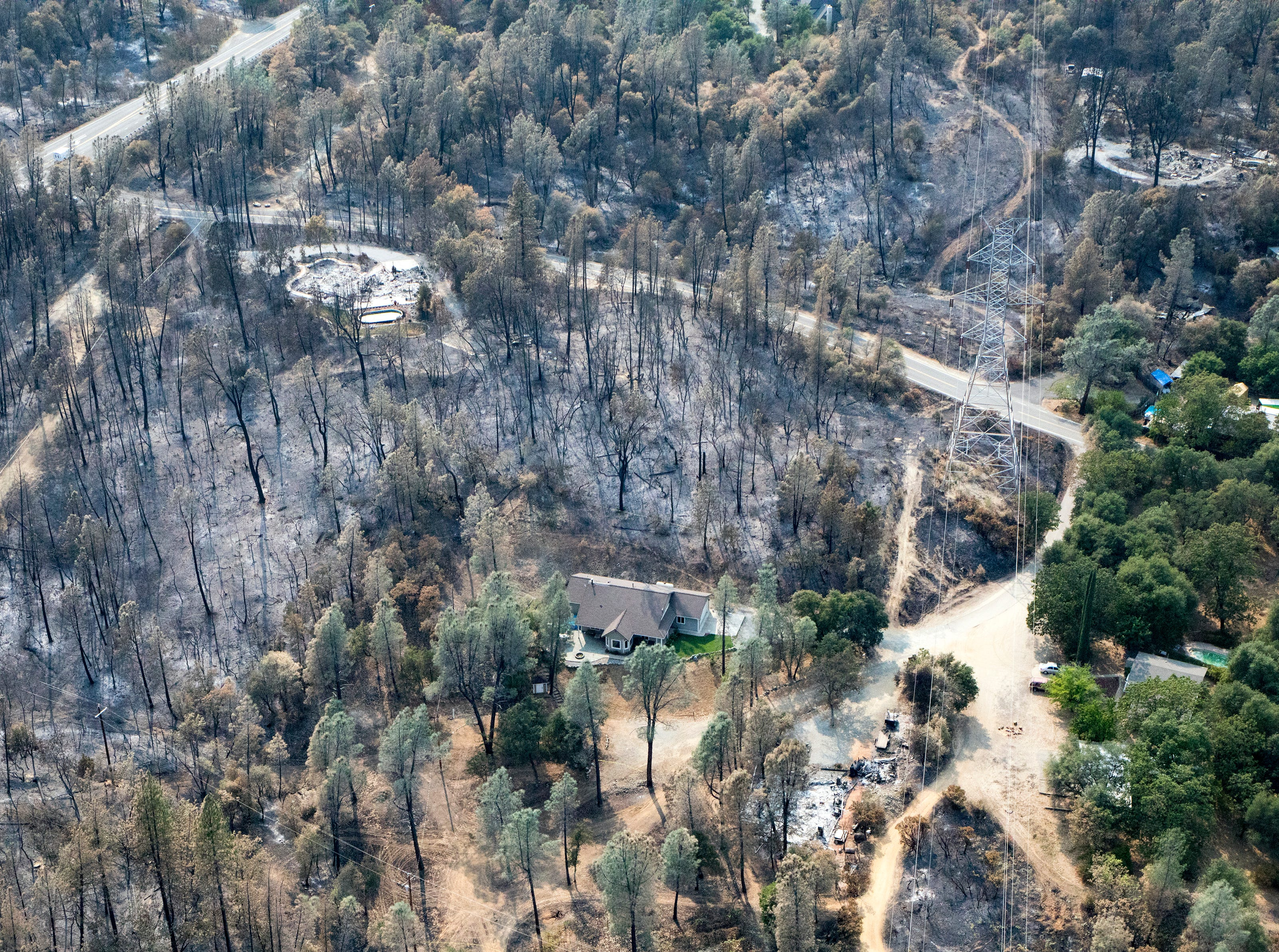 Aerial of the Shasta area following the Carr fire in Shasta Co., Calif., Tuesday, August 21, 2018.