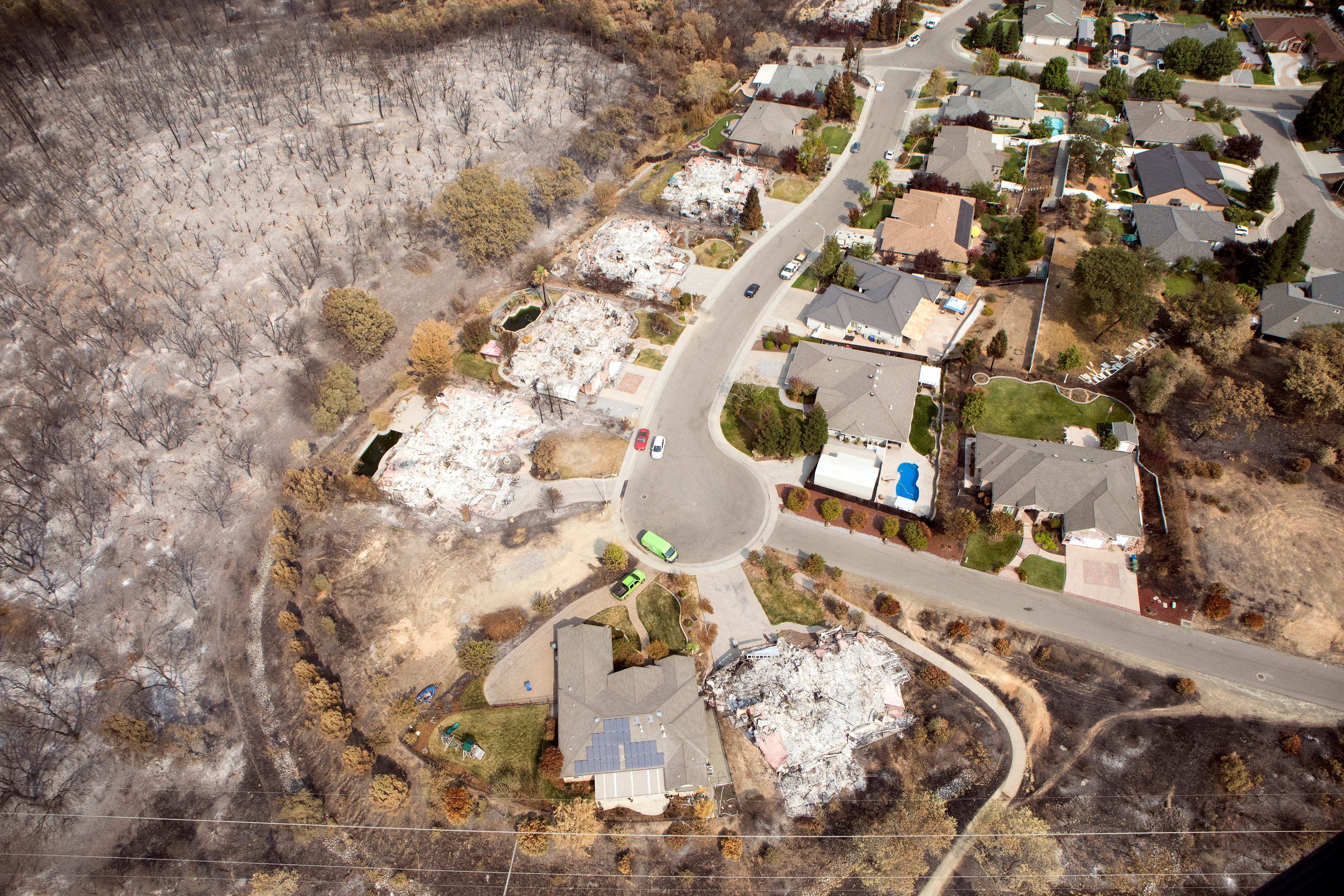 Aerial View Of California Fire Destruction Shows Extent Of