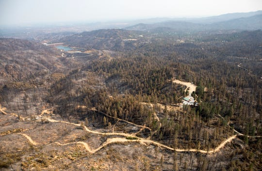 Aerial of the Keswick Dam and decimated Keswick area following the Carr Fire on Tuesday, August 21, 2018.