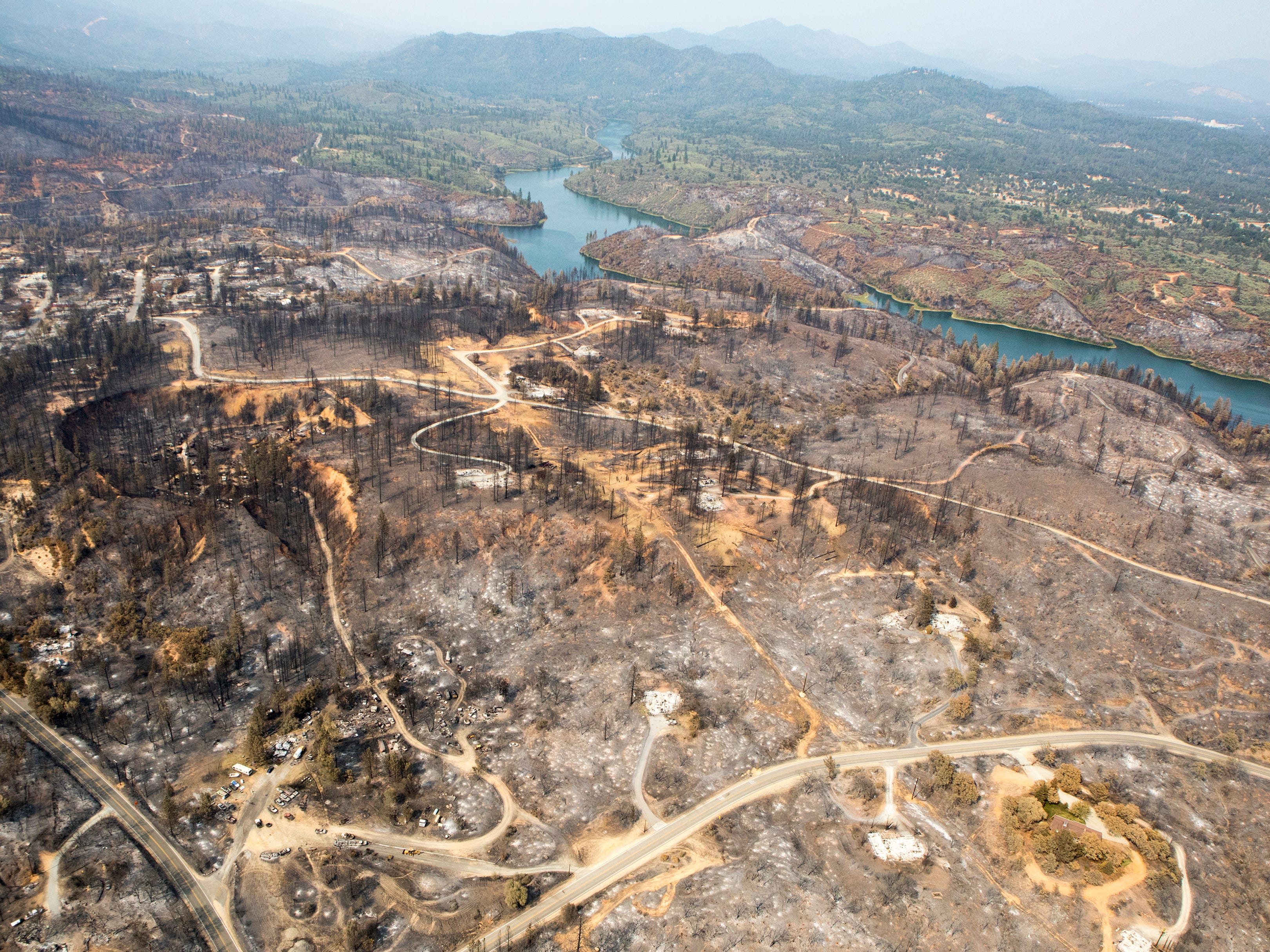 Aerial of the Keswick Dam and decimated Keswick area following the Carr fire in Shasta Co., Calif., Tuesday, August 21, 2018.