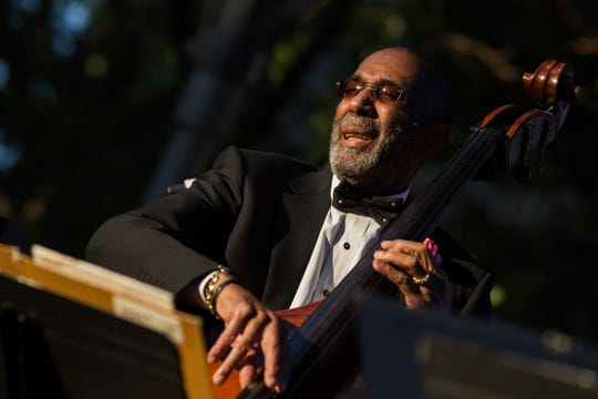 Ron Carter plays his double bass at the opening of the Detroit Jazz Festival on Friday, Sept. 2, 2016 in downtown Detroit. Born in Ferndale, Carter is among jazz's most widely-recorded bassists.