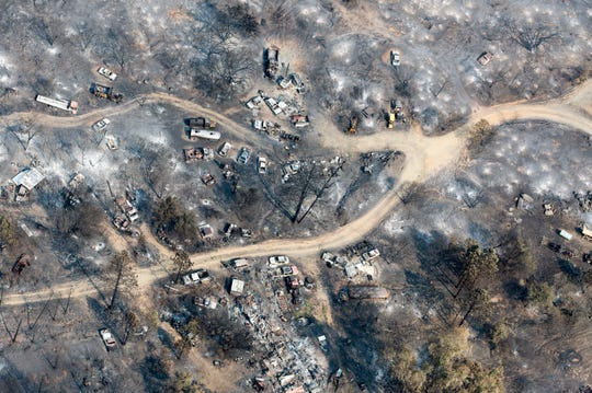 Aerial of the decimated Keswick area following the Carr Fire on Tuesday, August 21, 2018.