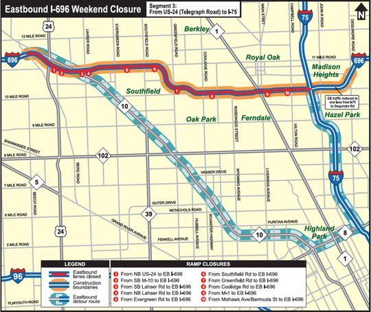 Road construction to slow traffic on I-96, I-696weekend on m-24 road map, i-70 road map, i-72 road map, i-90 road map, i-94 road map, us 31 road map, michigan to florida road map, i-15 road map, i-80 road map, i-25 road map, i-40 road map, central florida toll road map, interstate 75 map, i-65 road map, interstate 5 road map, i-57 road map, i 75 michigan map, i 5 road map, i-20 road map, i 75 route map,