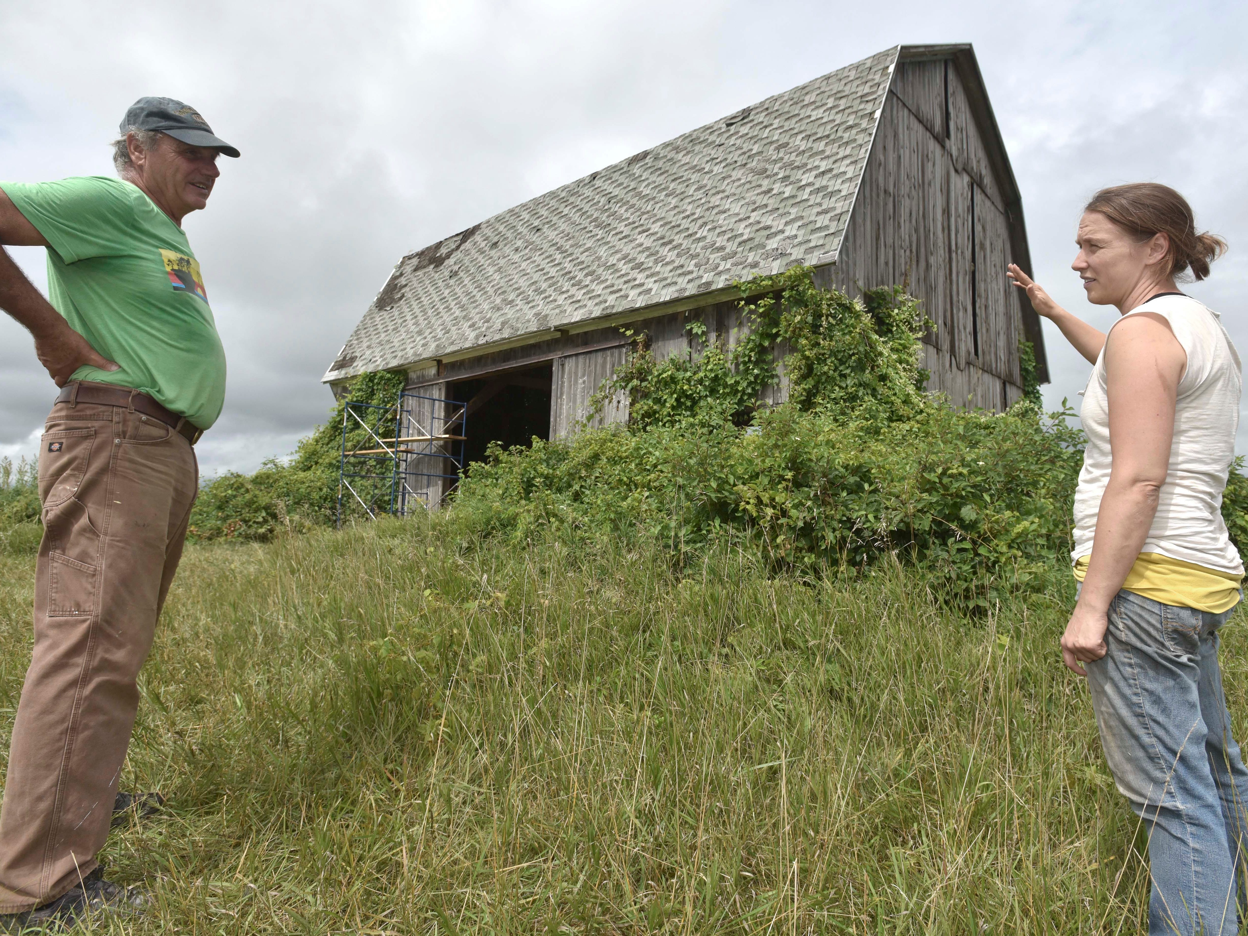 Barn artist Catie Newell of Detroit talks with volunteer laborer Terry Boyle, 71, of Port Austin outside the barn as they plan their next move.