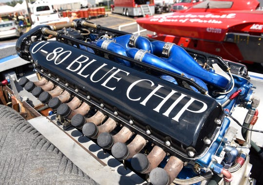 An Allison aircraft engine powers the U-80 Blue Chip boat.