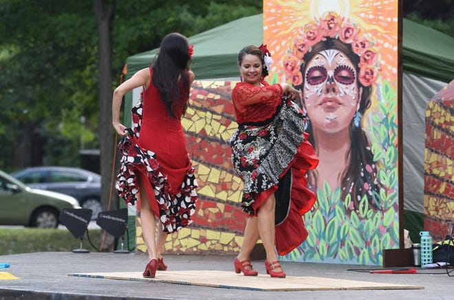 Lisa Montes and Victoria Lara of the group El Alma Espanola were the opening act for  Shakespeare in Detroit performed at Clark Park in Detroit's Mexicantown on Thursday. The production will be in Campus Martius Park on Saturday and Sunday.