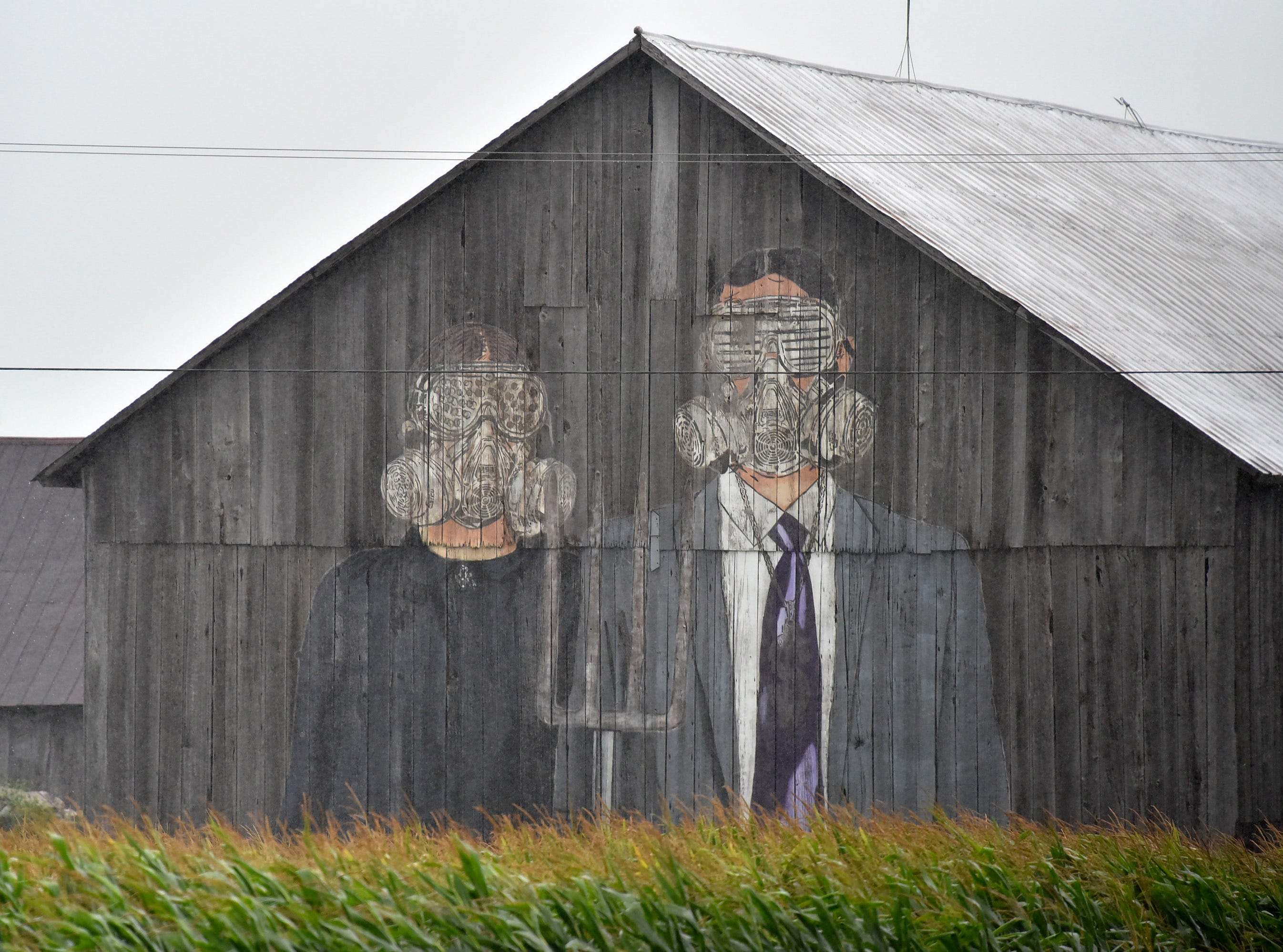 This is art from the Hygienic Dress League Collection on a barn on Stoddard Road near M-53.
