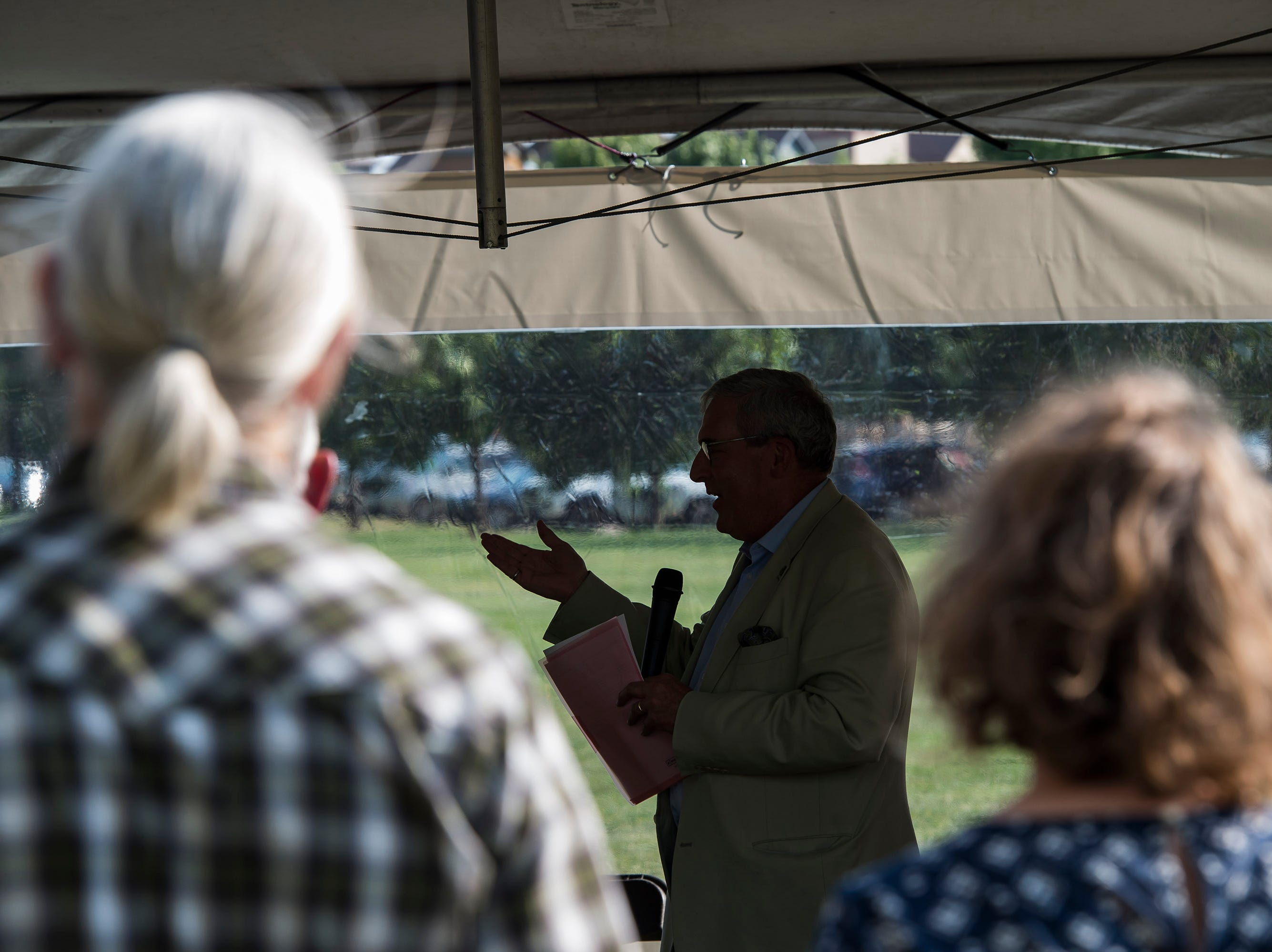 "Fort Collins Mayor Wade Troxell speaks during a ""groundbreaking"" ceremony for the Poudre River Whitewater Park on Thursday, Aug. 23, 2018, next to the Cache La Poudre River in Old Fort Collins Heritage Park in Fort Collins, Colo."