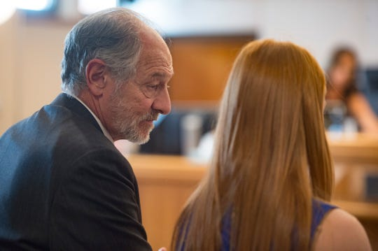 Attorney David Lane looks to his client after a jury delivers a guilty verdict at the Larimer County Justice Center in Fort Collins, Colorado, on Friday, August 24, 2018.