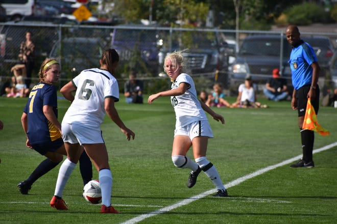 CSU soccer midfielder Beth Plentl, right, passes to Lexi Swenson during the Rams' 2-1 win over Northern Colorado on Thursday, Aug. 23, 2018.