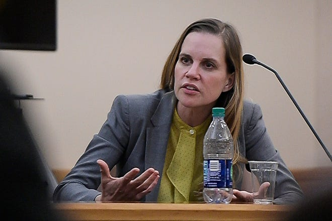 Former Colorado State University assistant professor Christina Boucher testifies during a trial in a lawsuit against Colorado State University accusing the college of retaliation and sexual harassment against Boucher, as seen on Friday, Aug. 24, 2018, at the Larimer County Justice Center in Fort Collins, Colo.