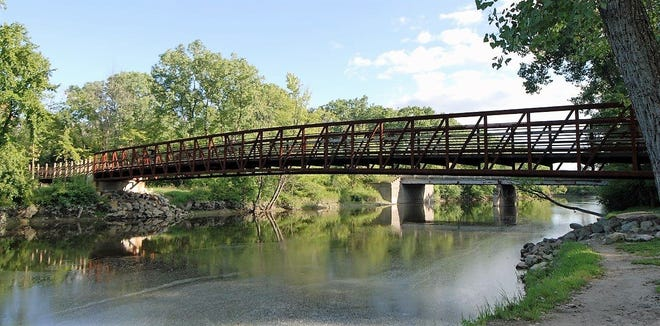 This pedestrian bridge in Genessee, Michigan, is similar to the type of bridge expected to be built across the Oconto River next year.