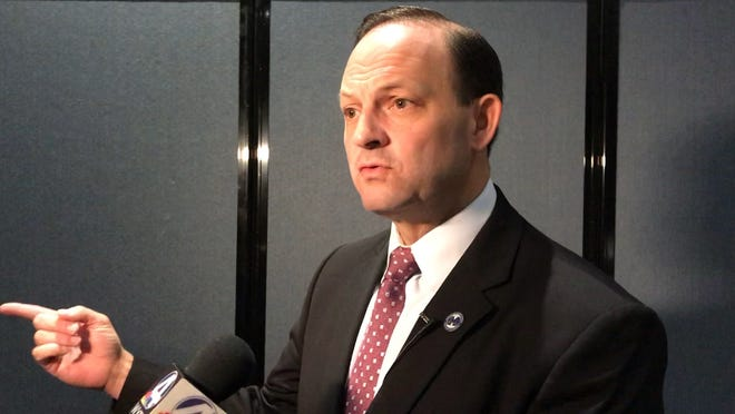 Attorney General Alan Wilson speaks about exposing and addressing the problem of human trafficking in Greenville County and South Carolina.