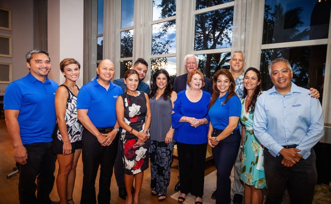Make-A-Wish Board at Meet and Greet with Tommy Austin and his wife Kay. Pictured from left: Tom Valderamma, gala chair; Kamia Dierking, board member; John Antenorcruz, board member; Ana Gera-Van Seters, board member; James Santos, board member; Deborah Kaae, board member; Tommy Austin and Kay; Louise Borja Muna, board member; Jay Jones, vice chair; Ana Marie Gayle, chair and Eric Tydingco, president and CEO of Make-A-Wish Guam and CNMI.