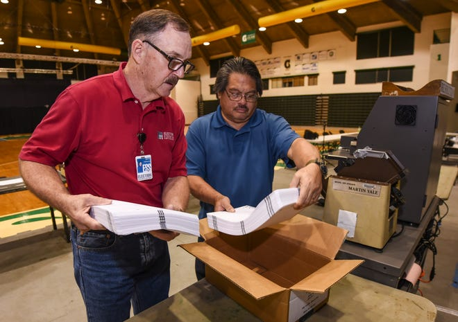 Bill McCullough, left, Election Systems & Software senior field service technician, and Department of Administration Customer Service Supervisor Ignacio Peredo, test one of three Guam Election Commission ballot tabulator machines at the University of Guam Calvo Field House in Mangilao on Thursday, Aug. 23, 2018. The tabulators were put to the test in counting sample ballots in preparation of the island's Primary Election scheduled for Saturday.
