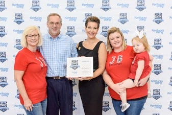 Donna Burton, Barry Burton, Lyndsey Scott, and Kennedy Scott accept J&B Barbecue & Catering's 3rd Place Barbecue award at the 2018 Best in Kentucky Awards. (Photo by Brian Bohannon)