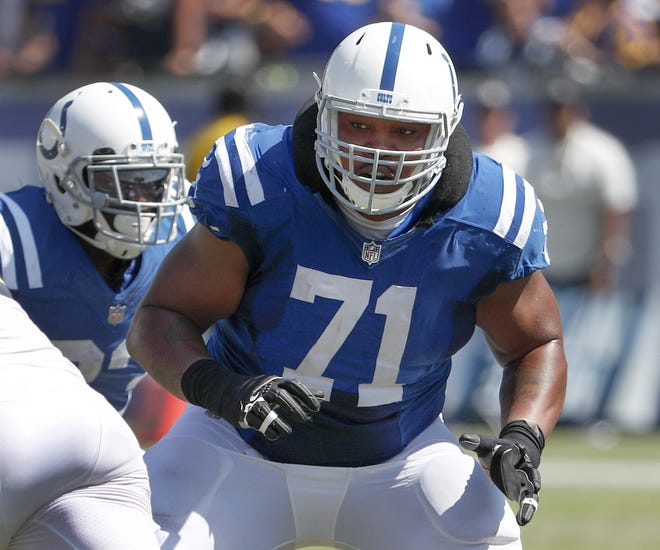 Indianapolis Colts offensive tackle Denzelle Good (71) in the second quarter of their game at the Los Angeles Memorial Coliseum in Los Angeles Sunday afternoon, Sept. 10, 2017.