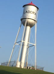 The Ladora water tower seems to keep watch over the town of about 300 residents.
