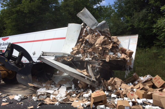 Tractor Trailers crashed in Jefferson County, spilling debris and closing westbound lanes of Interstate 40 for several miles.