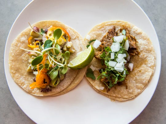 The tako and pork tacos at Tako Taco, located at 235 W. Depot Ave., in downtown Knoxville.