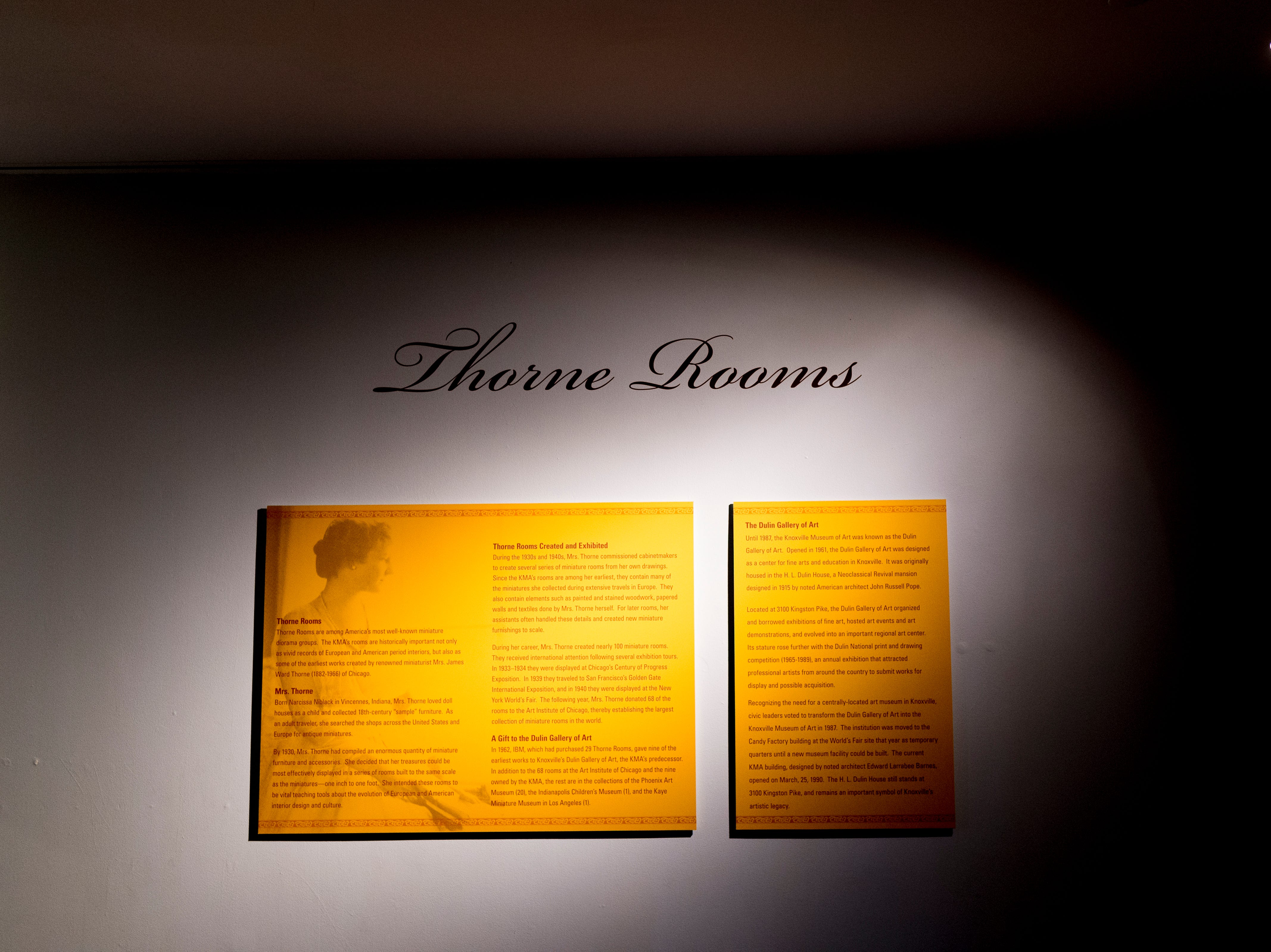 A sign explains the history of the rooms in the Thorne Room in Knoxville, Tennessee on Tuesday, August 21, 2018. The nine miniature rooms were created in the 1930s and 40s by Mrs. James Ward Thorne to a scale of one inch to one foot.
