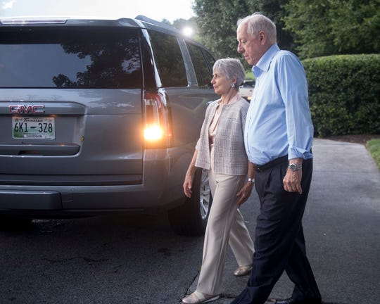 Phil Bredesen, the Democratic nomineeforan open U.S. Senate seat in Tennessee, and his wife, Andrea Conte, leave a campaign event at Applewood Farmhouse Restaurant in Sevierville on Aug. 21, 2018.