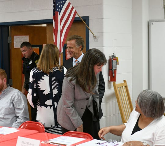 Gov. Bill Haslam enters the library at Halls Elementary School Friday, August 24, 2018 to began his TN Ready listening tour.